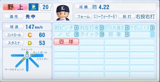 野上亮磨_西武ライオンズ_パワプロ能力データ_2016年シーズン終了時