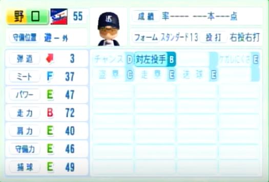 野口_ヤクルトスワローズ_パワプロ能力データ_2014年シーズン終了時