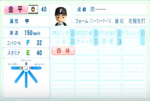 金平_日本ハムファイターズ_パワプロ能力データ_2014年シーズン終了時
