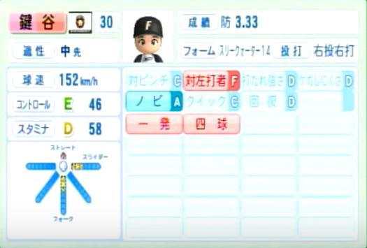 鍵谷_日本ハムファイターズ_パワプロ能力データ_2014年シーズン終了時