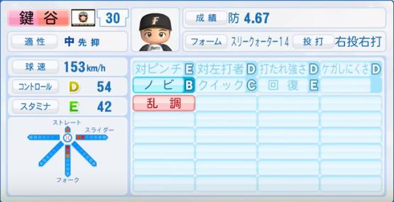 鍵谷_日本ハムファイターズ_パワプロ能力データ_2016年シーズン終了時