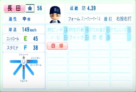 長田_横浜DeNAベイスターズ_パワプロ能力データ_2014年シーズン終了時
