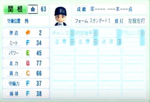 関根_横浜DeNAベイスターズ_パワプロ能力データ_2014年シーズン終了時