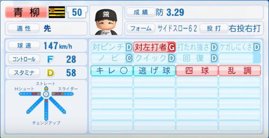 青柳昂洋_阪神タイガース_パワプロ能力データ_2017年シーズン終了時