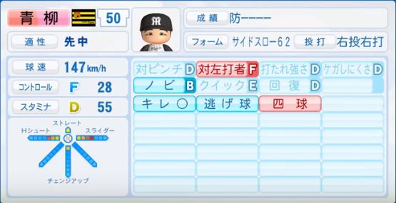 青柳晃洋_阪神タイガース_パワプロ能力データ_2016年シーズン終了時