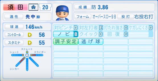 須田_横浜DeNAベイスターズ_パワプロ能力データ_2016年シーズン終了時