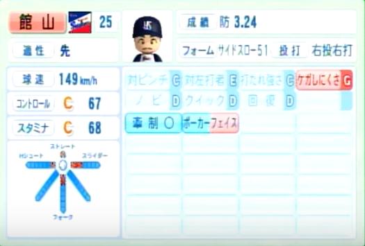 館山_ヤクルトスワローズ_パワプロ能力データ_2014年シーズン終了時