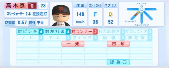 高木京介_巨人_パワプロ能力データ_2013年シーズン終了時