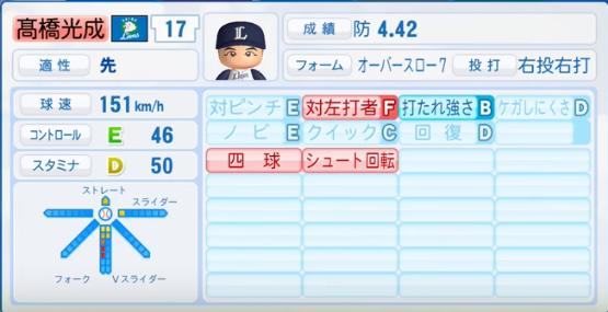 髙橋光成_西武ライオンズ_パワプロ能力データ_2017年シーズン終了時