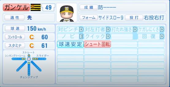 ガンケル_阪神タイガース_パワプロ能力データ_2020年シーズン開幕時_7月9日Ver