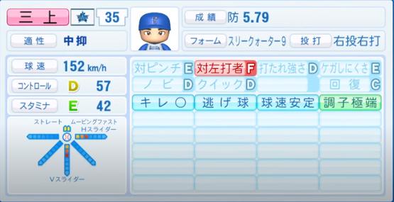 三上朋也_横浜DeNAベイスターズ_パワプロ能力データ_2020年シーズン開幕時_7月9日Ver