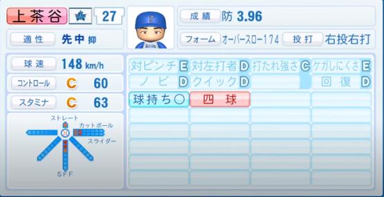 上茶谷_横浜DeNAベイスターズ_パワプロ能力データ_2020年シーズン開幕時_7月9日Ver