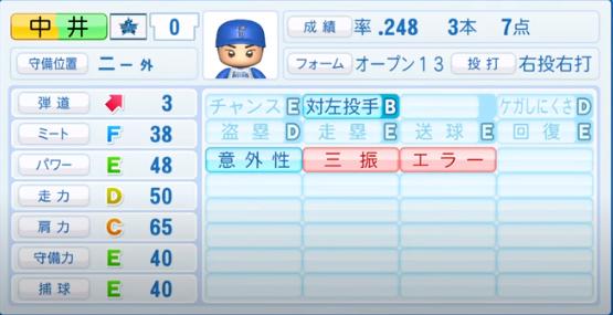 中井_横浜DeNAベイスターズ_パワプロ能力データ_2020年シーズン開幕時_7月9日Ver
