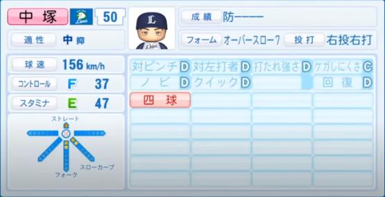中塚_西武ライオンズ_パワプロ能力データ_2020年シーズン開幕時7月9日