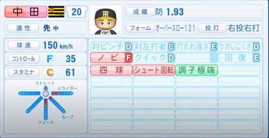 中田賢一_阪神タイガース_パワプロ能力データ_2020年シーズン開幕時_7月9日Ver