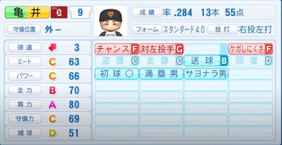 亀井善行_巨人_パワプロ能力データ_2020年シーズン開幕時_7月9日Ver