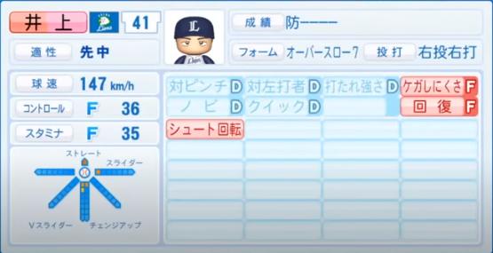 井上_西武ライオンズ_パワプロ能力データ_2020年シーズン開幕時7月9日