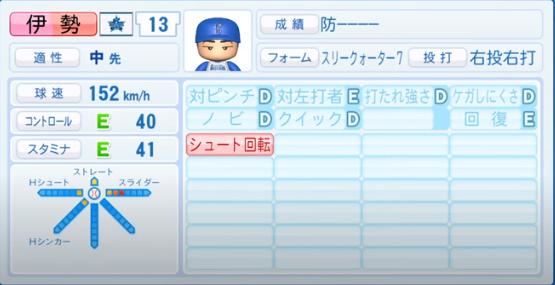伊勢_横浜DeNAベイスターズ_パワプロ能力データ_2020年シーズン開幕時_7月9日Ver