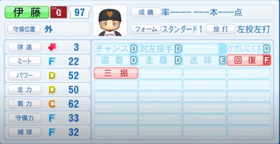 伊藤_巨人_パワプロ能力データ_2020年シーズン開幕時_7月9日Ver