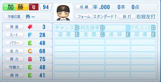 加藤_巨人_パワプロ能力データ_2020年シーズン開幕時_7月9日Ver
