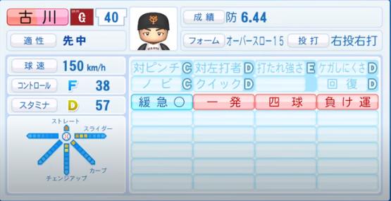 古川_巨人_パワプロ能力データ_2020年シーズン開幕時_7月9日Ver