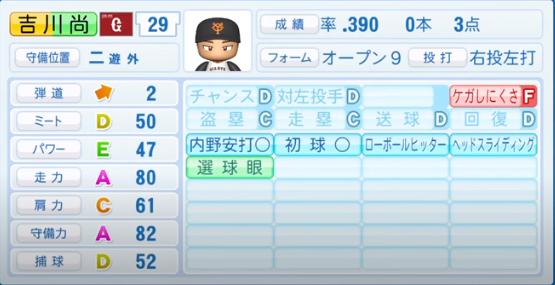 吉川尚輝_巨人_パワプロ能力データ_2020年シーズン開幕時_7月9日Ver