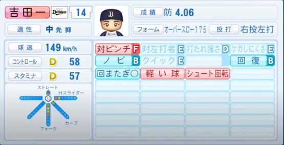 吉田一将_オリックスバファローズ_パワプロ能力データ_2020年シーズン開幕時_7月9日Ver