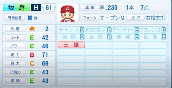 坂倉_広島カープ_パワプロ能力データ_2020年シーズン開幕時_7月9日Ver