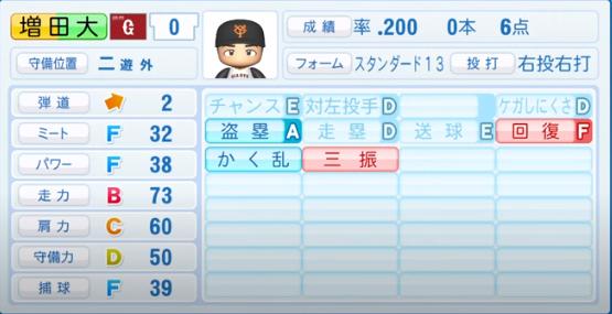 増田大_巨人_パワプロ能力データ_2020年シーズン開幕時_7月9日Ver
