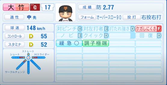 大竹寛_巨人_パワプロ能力データ_2020年シーズン開幕時_7月9日Ver
