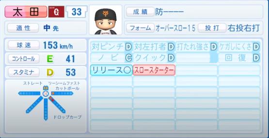 太田_巨人_パワプロ能力データ_2020年シーズン開幕時_7月9日Ver