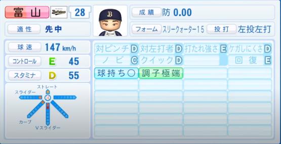 富山_オリックスバファローズ_パワプロ能力データ_2020年シーズン開幕時_7月9日Ver