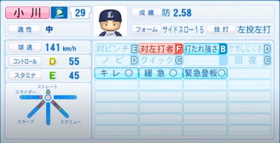 小川_西武ライオンズ_パワプロ能力データ_2020年シーズン開幕時7月9日