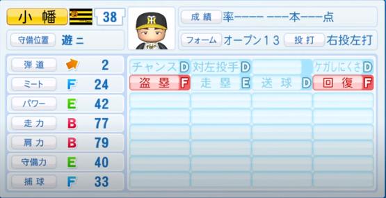 小幡竜平_阪神タイガース_パワプロ能力データ_2020年シーズン開幕時_7月9日Ver