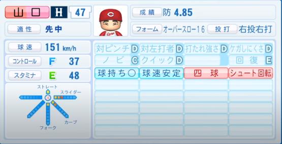 山口_広島カープ_パワプロ能力データ_2020年シーズン開幕時_7月9日Ver