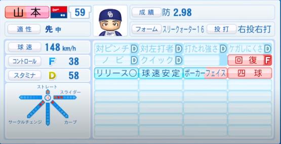 山本_中日ドラゴンズ_パワプロ能力データ_2020年シーズン開幕時_7月9日Ver
