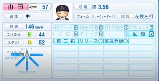 山田_オリックスバファローズ_パワプロ能力データ_2020年シーズン開幕時_7月9日Ver