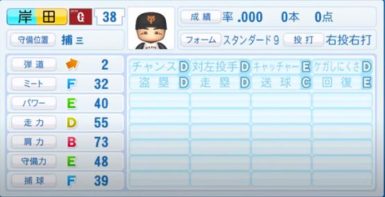 岸田_巨人_パワプロ能力データ_2020年シーズン開幕時_7月9日Ver