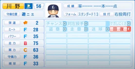 川野_西武ライオンズ_パワプロ能力データ_2020年シーズン開幕時7月9日