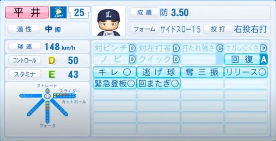 平井克典_西武ライオンズ_パワプロ能力データ_2020年シーズン開幕時7月9日