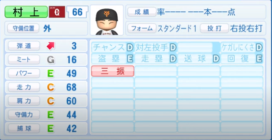 村上_巨人_パワプロ能力データ_2020年シーズン開幕時_7月9日Ver