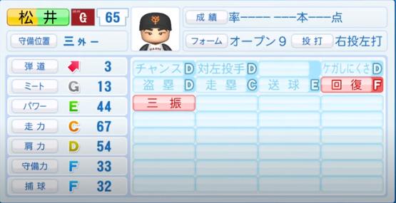 松井義弥_巨人_パワプロ能力データ_2020年シーズン開幕時_7月9日Ver