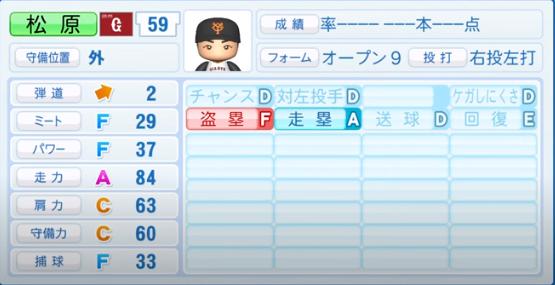 松原_巨人_パワプロ能力データ_2020年シーズン開幕時_7月9日Ver