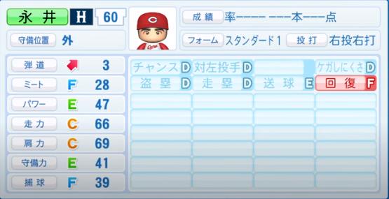 永井_広島カープ_パワプロ能力データ_2020年シーズン開幕時_7月9日Ver