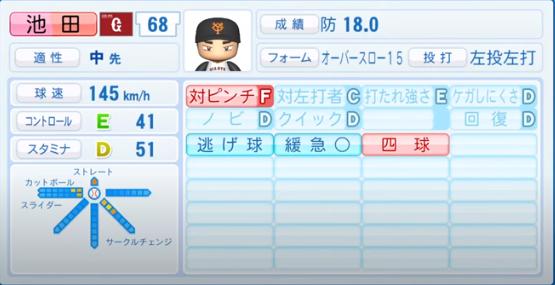 池田_巨人_パワプロ能力データ_2020年シーズン開幕時_7月9日Ver