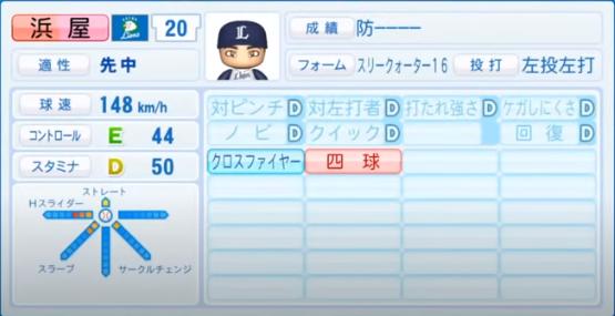 浜屋 _西武ライオンズ_パワプロ能力データ_2020年シーズン開幕時7月9日