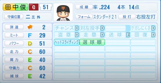 田中俊_巨人_パワプロ能力データ_2020年シーズン開幕時_7月9日Ver