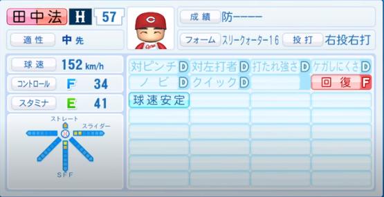 田中法_広島カープ_パワプロ能力データ_2020年シーズン開幕時_7月9日Ver