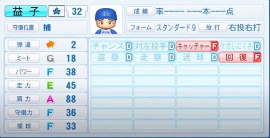 益子_横浜DeNAベイスターズ_パワプロ能力データ_2020年シーズン開幕時_7月9日Ver