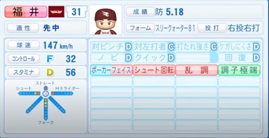 福井_楽天イーグルス_パワプロ能力データ_2020年シーズン開幕時_7月9日Ver
